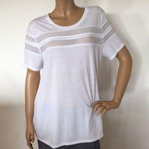 Zella White Mesh Active Tee T Shirt Top XL